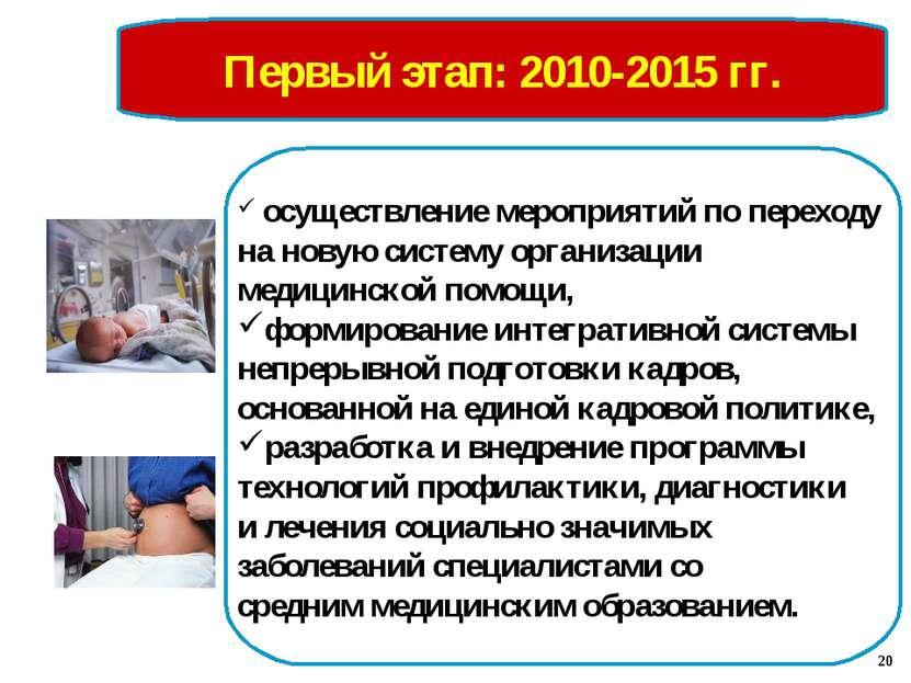 Первый этап: 2010-2015 гг. осуществление мероприятий по переходу на новую сис...
