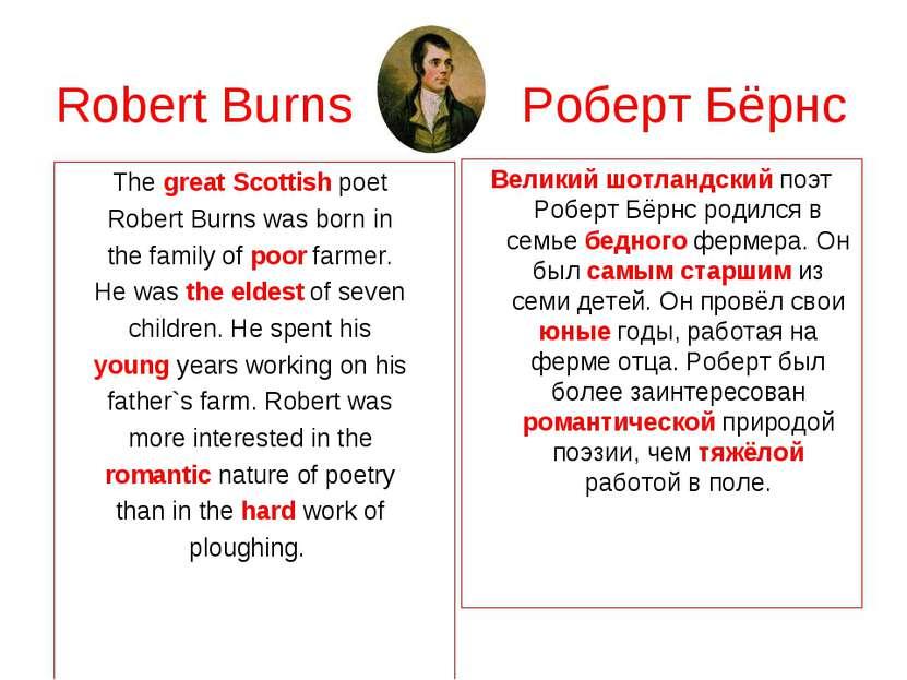 Robert Burns Роберт Бёрнс The great Scottish poet Robert Burns was born in th...
