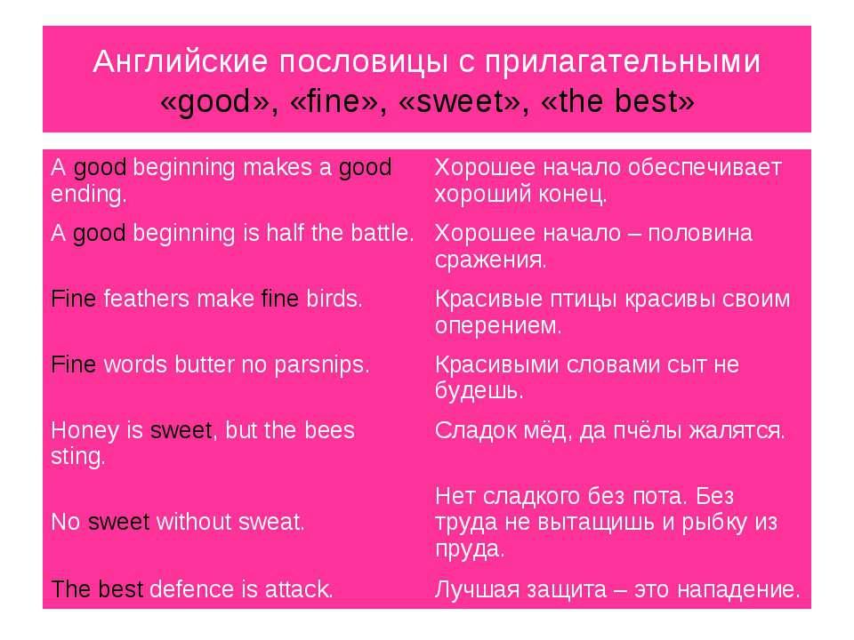 Английские пословицы с прилагательными «good», «fine», «sweet», «the best» A ...