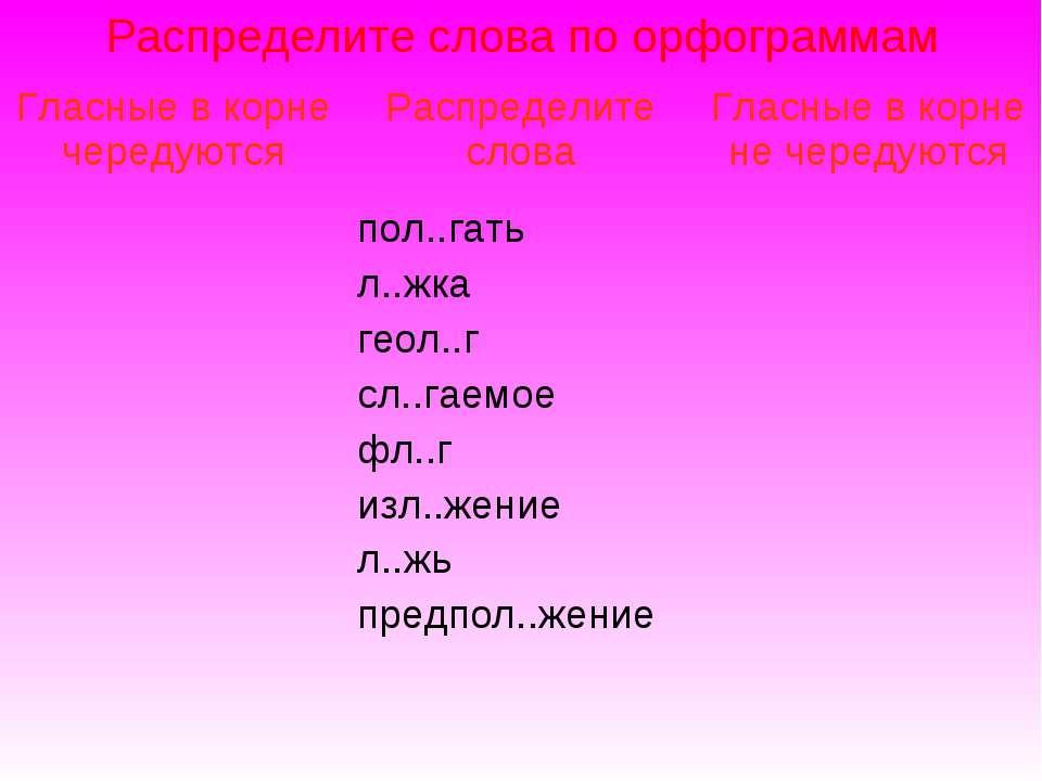 Распределите слова по орфограммам Гласные в корне чередуются Распределите сло...