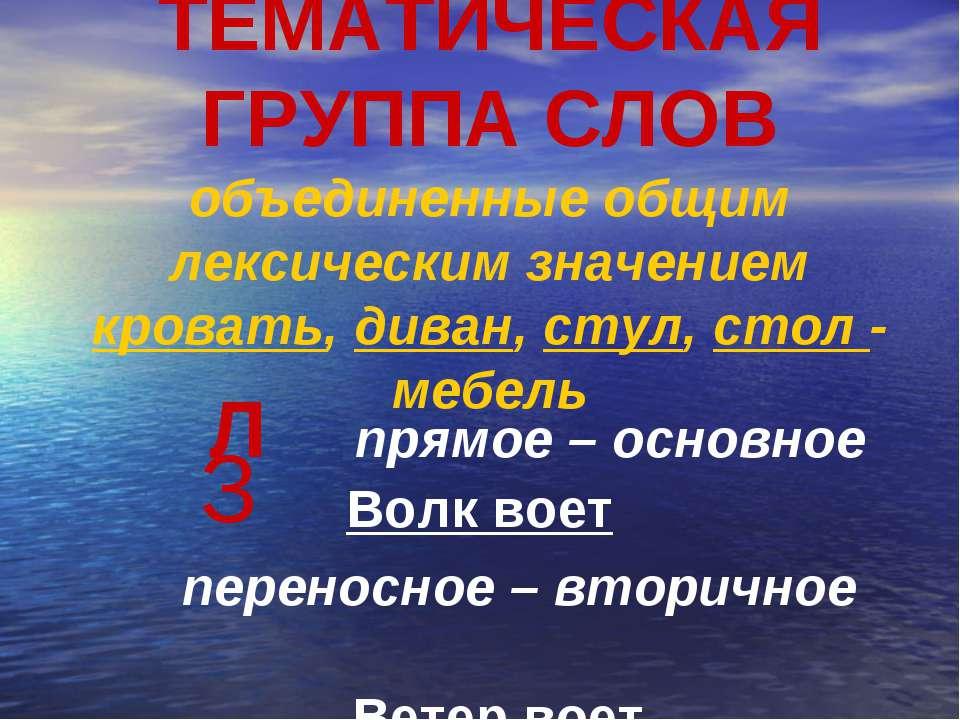 ТЕМАТИЧЕСКАЯ ГРУППА СЛОВ объединенные общим лексическим значением кровать, ди...