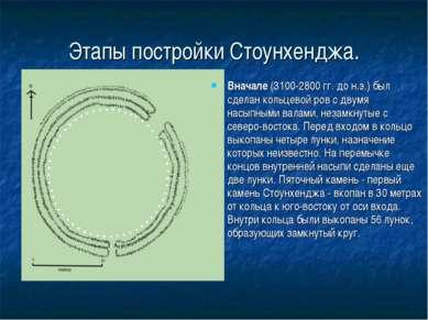 Этапы постройки Стоунхенджа. Вначале (3100-2800 гг. до н.э.) был сделан кольц...