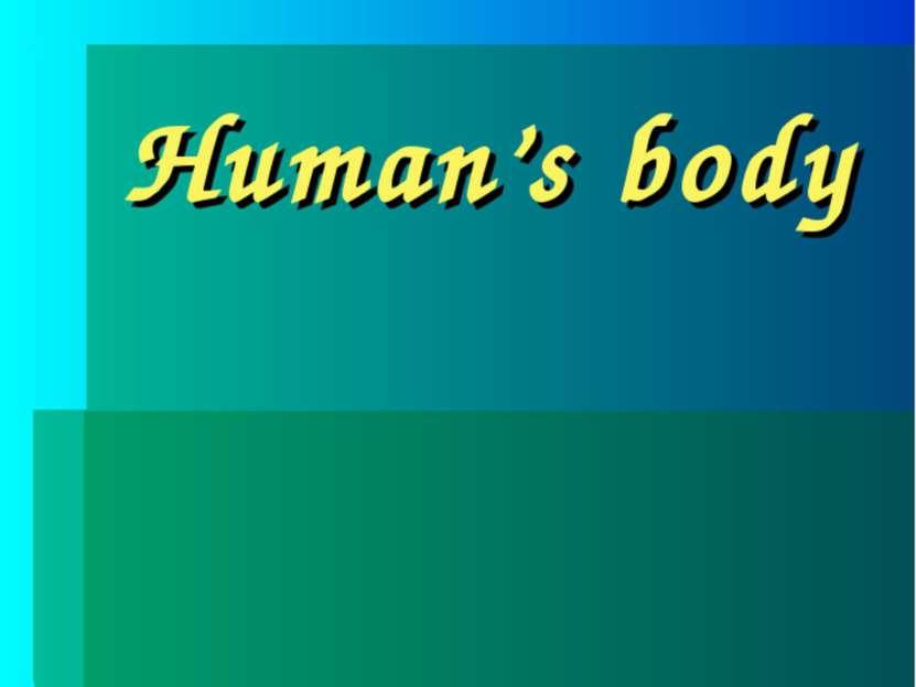 Human's body Учителя английского языка Васильевой Е.Н. Для 3-х классов