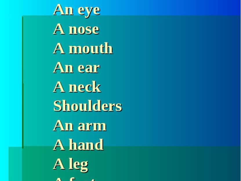 Translate please: A head Hair An eye A nose A mouth An ear A neck Shoulders A...