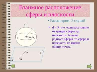 d > R, т.е. если расстояние от центра сферы до плоскости больше радиуса сферы...