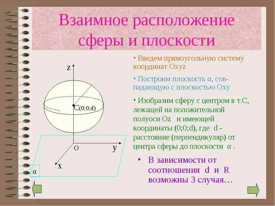 Взаимное расположение сферы и плоскости В зависимости от соотношения d и R во...