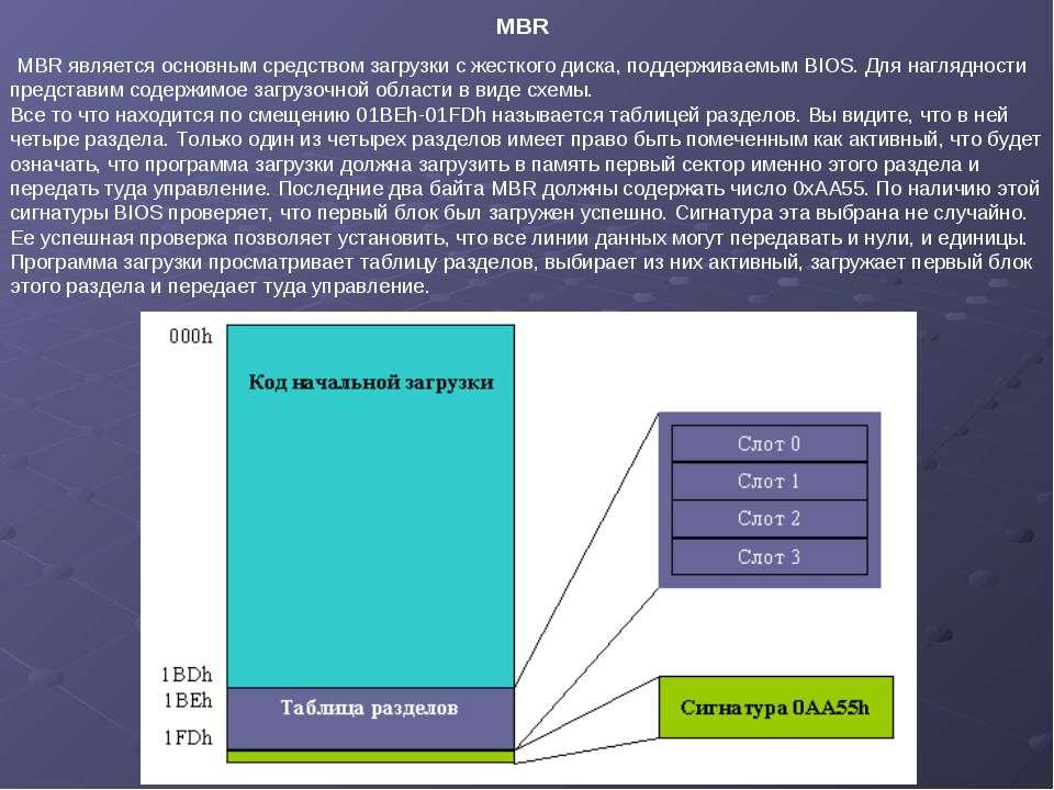 MBR является основным средством загрузки с жесткого диска, поддерживаемым BIO...