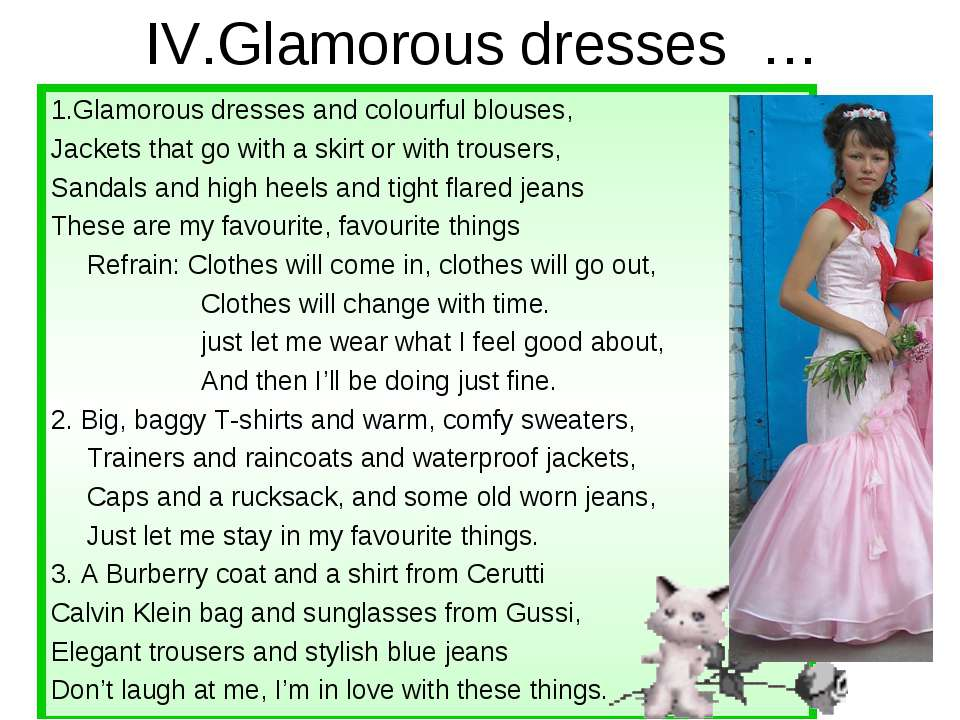 IV.Glamorous dresses … 1.Glamorous dresses and colourful blouses, Jackets tha...