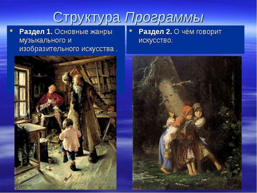 Структура Программы Раздел 1. Основные жанры музыкального и изобразительного ...