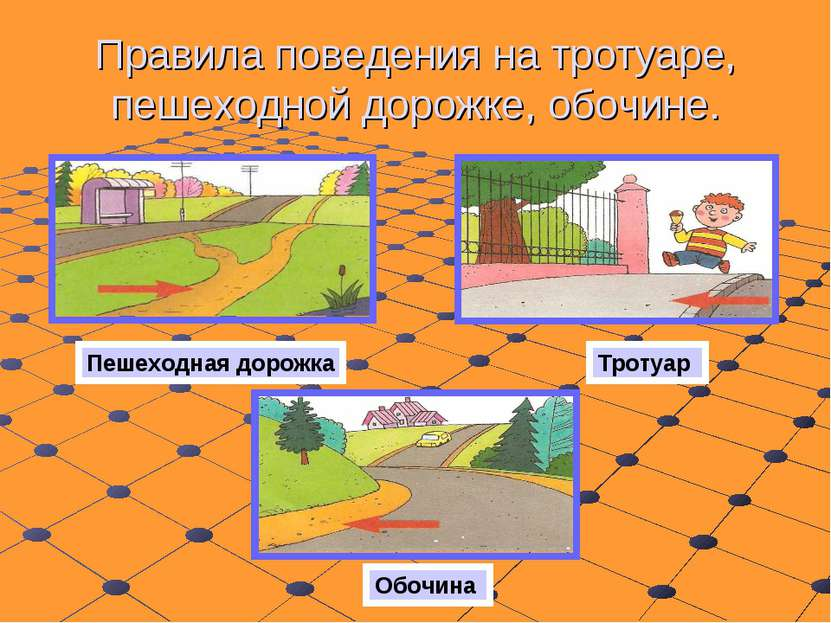 Правила поведения на тротуаре, пешеходной дорожке, обочине. Пешеходная дорожк...