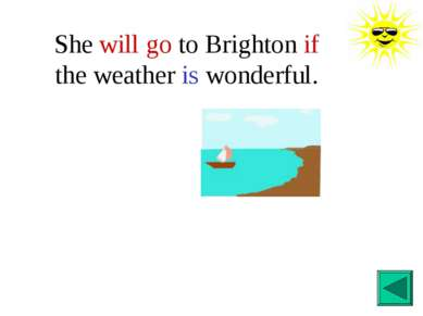 She will go to Brighton if the weather is wonderful.