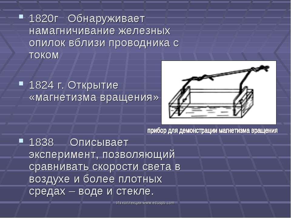 1820г Обнаруживает намагничивание железных опилок вблизи проводника с током 1...