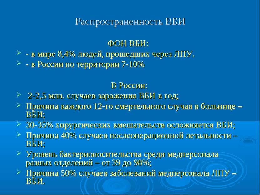 Распространенность ВБИ ФОН ВБИ: - в мире 8,4% людей, прошедших через ЛПУ. - в...