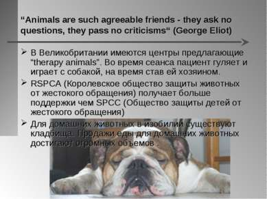 """""""Animals are such agreeable friends - they ask no questions, they pass no cri..."""