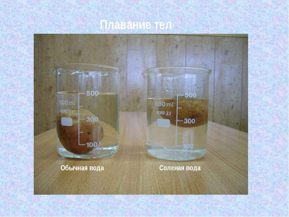 Плавание тел Обычная вода Соленая вода