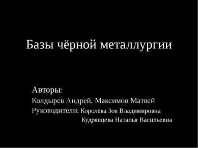 Базы чёрной металлургии Авторы: Колдырев Андрей, Максимов Матвей Руководители...