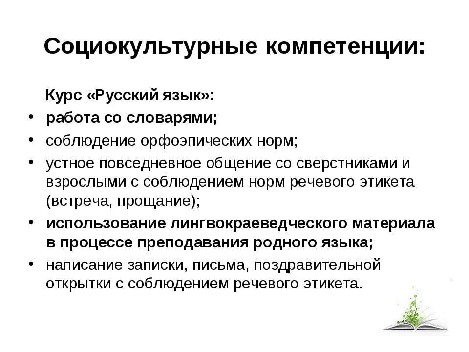 Социокультурные компетенции: Курс «Русский язык»:  работа со словарями; ...