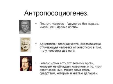 """Антропосоциогенез. Платон: человек – """"двуногое без перьев, имеющее широкие но..."""