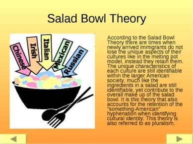 Salad Bowl Theory According to the Salad Bowl Theory there are times when new...