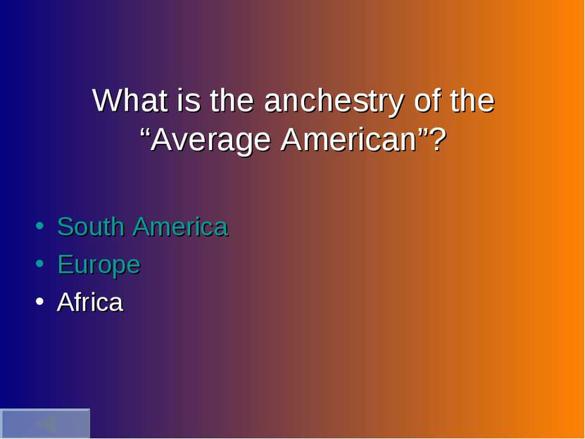 "What is the anchestry of the ""Average American""? South America Europe Africa"