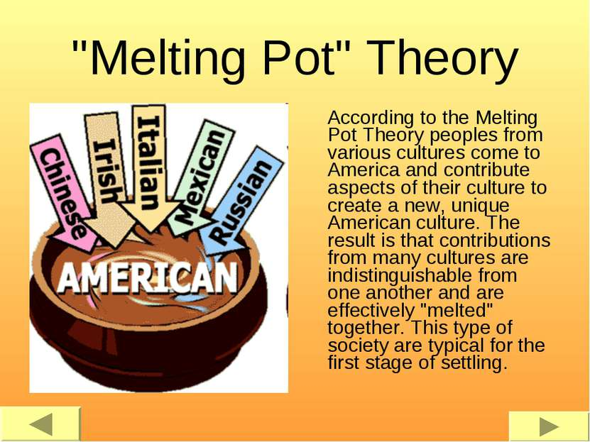 """Melting Pot"" Theory According to the Melting Pot Theory peoples from various..."
