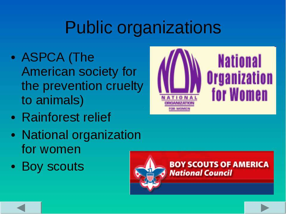 Public organizations ASPCA (The American society for the prevention cruelty t...