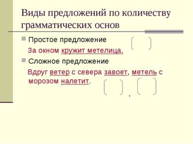 Виды предложений по количеству грамматических основ Простое предложение За ок...