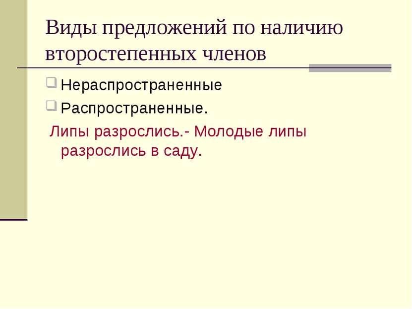 Виды предложений по наличию второстепенных членов Нераспространенные Распрост...