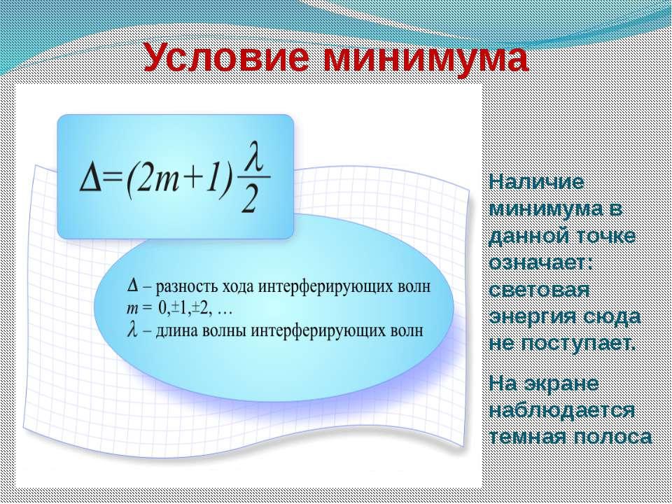 Условие минимума Наличие минимума в данной точке означает: световая энергия с...
