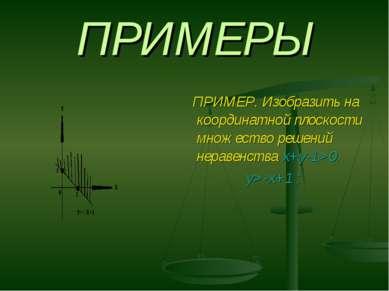 ПРИМЕРЫ ПРИМЕР. Изобразить на координатной плоскости множество решений нераве...
