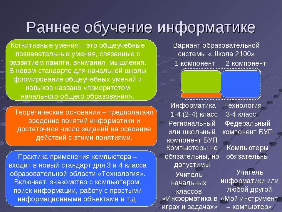 Раннее обучение информатике Вариант образовательной системы «Школа 2100» 1 ко...