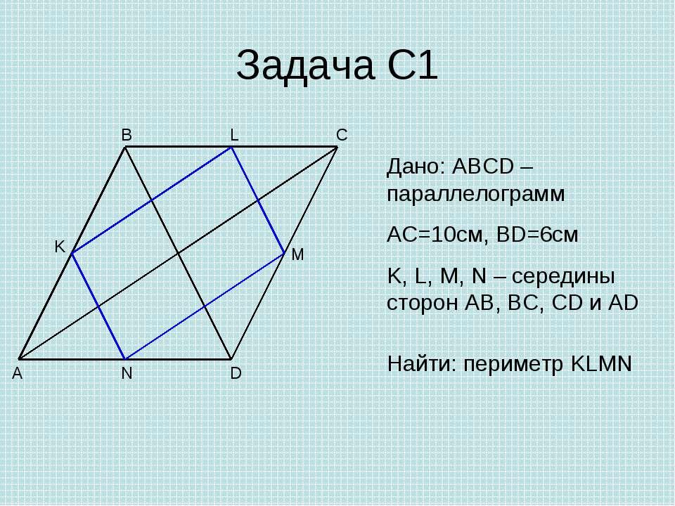 Задача С1 A B C D M N K Дано: ABCD – параллелограмм AC=10см, BD=6см K, L, M, ...