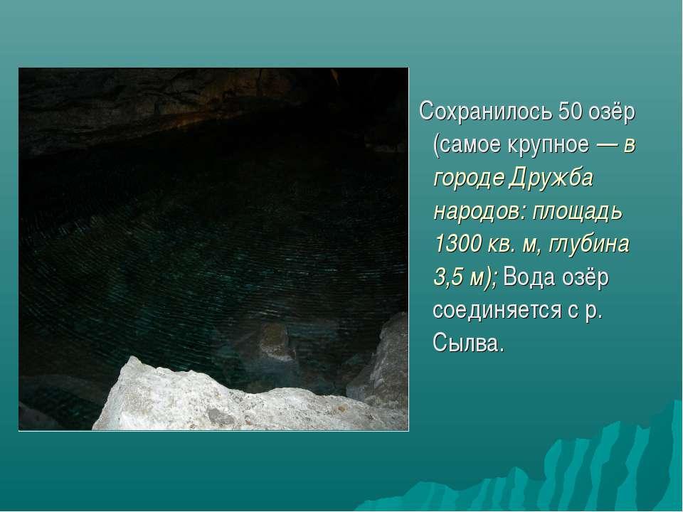 Сохранилось 50 озёр (самое крупное — в городе Дружба народов: площадь 1300 кв...