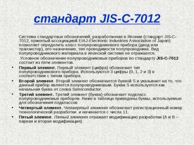 стандарт JIS-C-7012 Система стандартных обозначений, разработанная в Японии (...