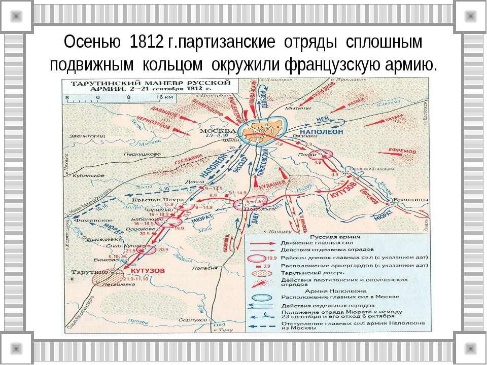 Осенью 1812 г.партизанские отряды сплошным подвижным кольцом окружили француз...