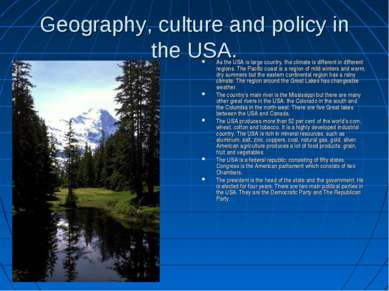 Geography, culture and policy in the USA. As the USA is large country, the cl...