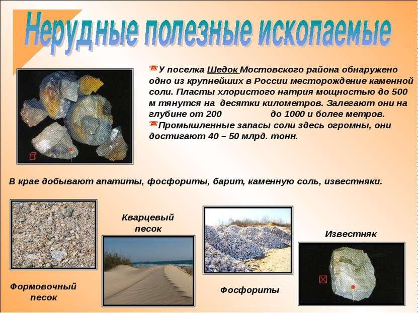 В крае добывают апатиты, фосфориты, барит, каменную соль, известняки. У посел...
