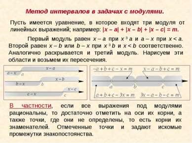 Метод интервалов в задачах с модулями. Пусть имеется уравнение, в которое вхо...