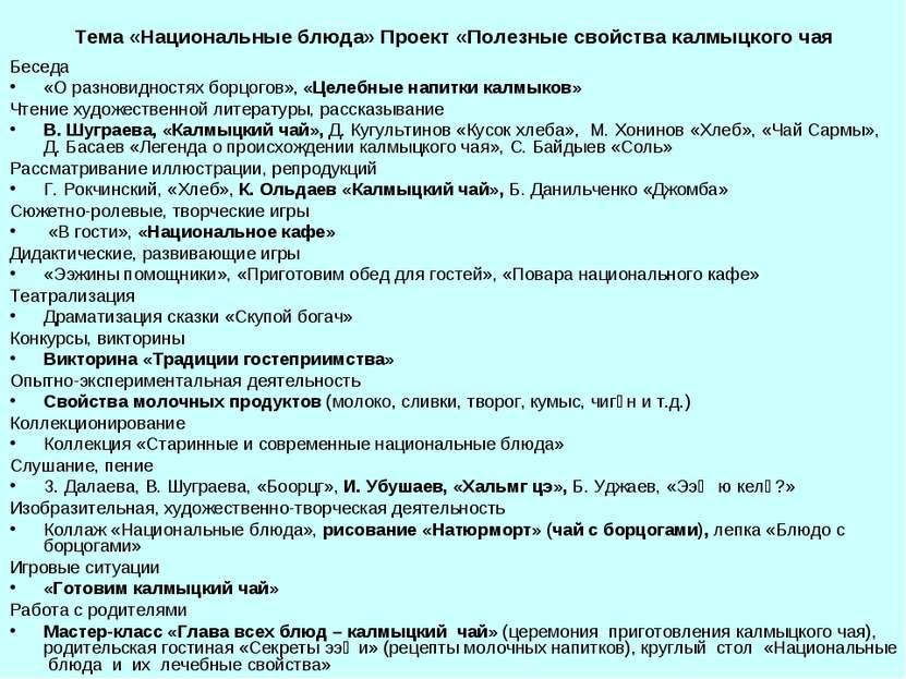 Тема «Национальные блюда» Проект «Полезные свойства калмыцкого чая Беседа «О ...