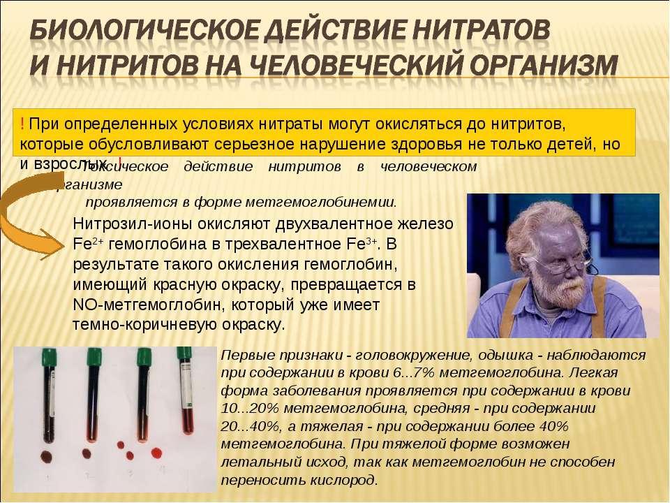 Токсическое действие нитритов в человеческом организме проявляется в форме ме...