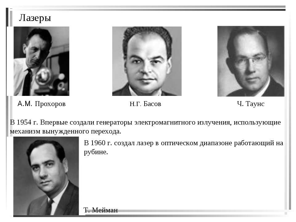 Лазеры А.М. Прохоров Н.Г. Басов Ч. Таунс В 1954 г. Впервые создали генераторы...