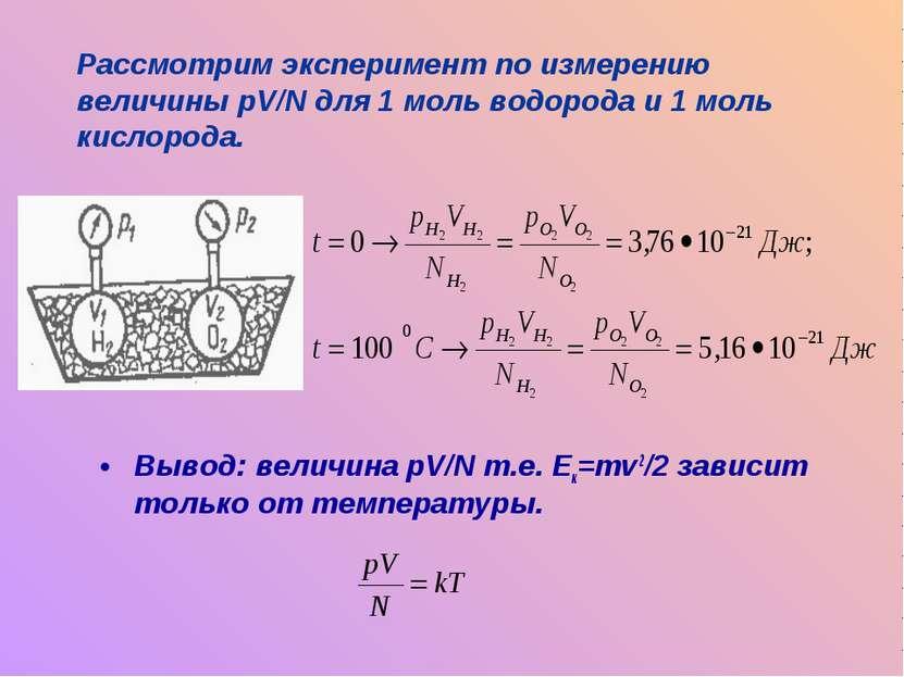 Вывод: величина pV/N т.е. Ек=mv2/2 зависит только от температуры. Рассмотрим ...