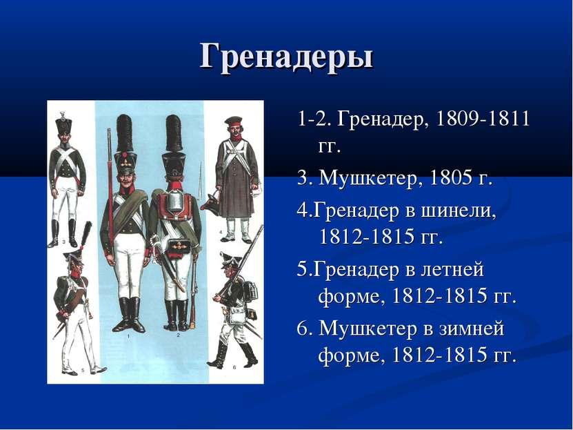 Гренадеры 1-2. Гренадер, 1809-1811 гг. 3. Мушкетер, 1805 г. 4.Гренадер в шине...