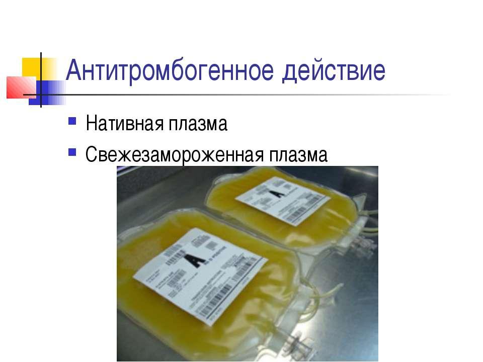 Антитромбогенное действие Нативная плазма Свежезамороженная плазма