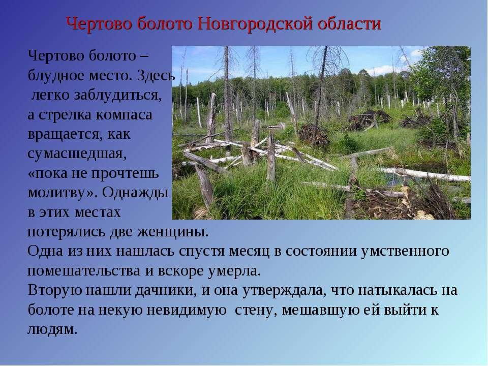 Чертово болото Новгородской области Чертово болото – блудное место. Здесь лег...