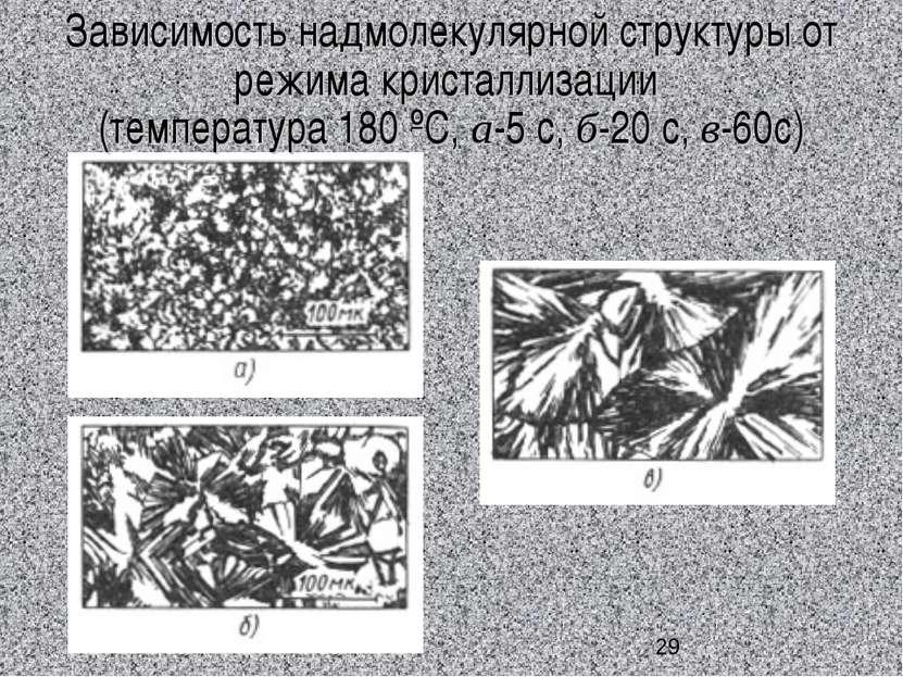 Зависимость надмолекулярной структуры от режима кристаллизации (температура 1...