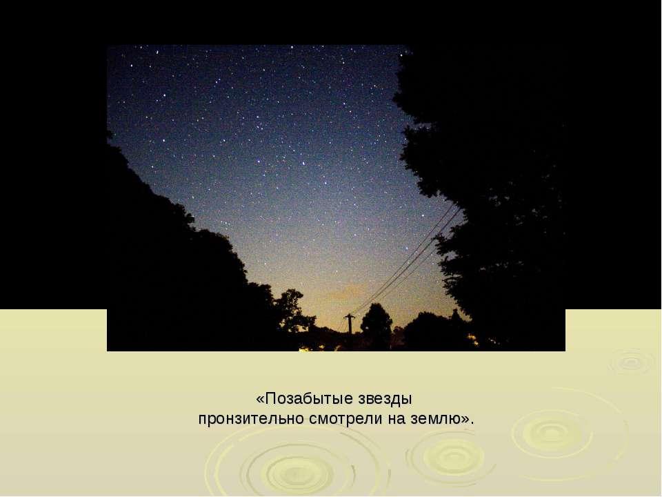 «Позабытые звезды пронзительно смотрели на землю».