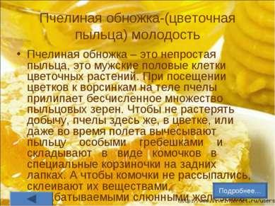 Пчелиная обножка-(цветочная пыльца) молодость Пчелиная обножка – это непроста...