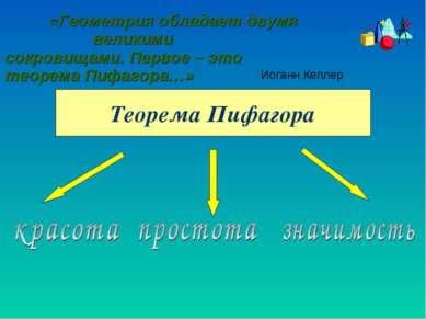 «Геометрия обладает двумя великими сокровищами. Первое – это теорема Пифагора...
