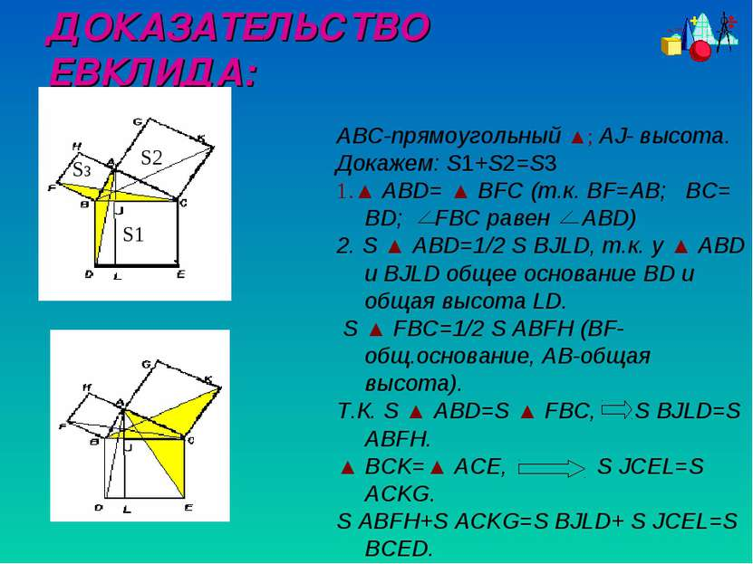 ABC-прямоугольный ▲; AJ- высота. Докажем: S1+S2=S3 1.▲ ABD= ▲ BFC (т.к. BF=AB...